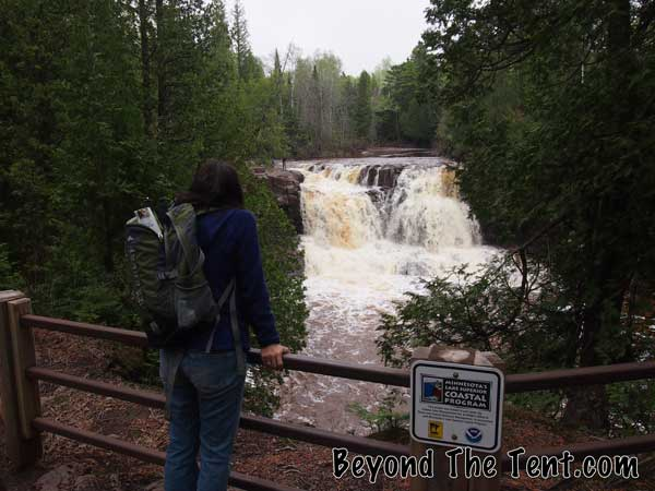 Looking at a waterfall in Minnesota