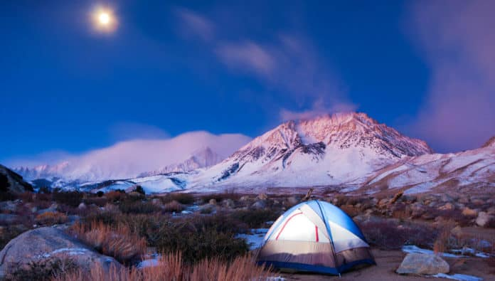 cold weather camping in the snow