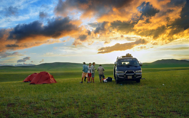 Camping in the sunset
