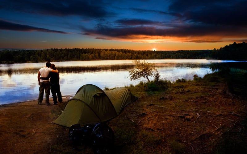 Romantic Camping Sunset