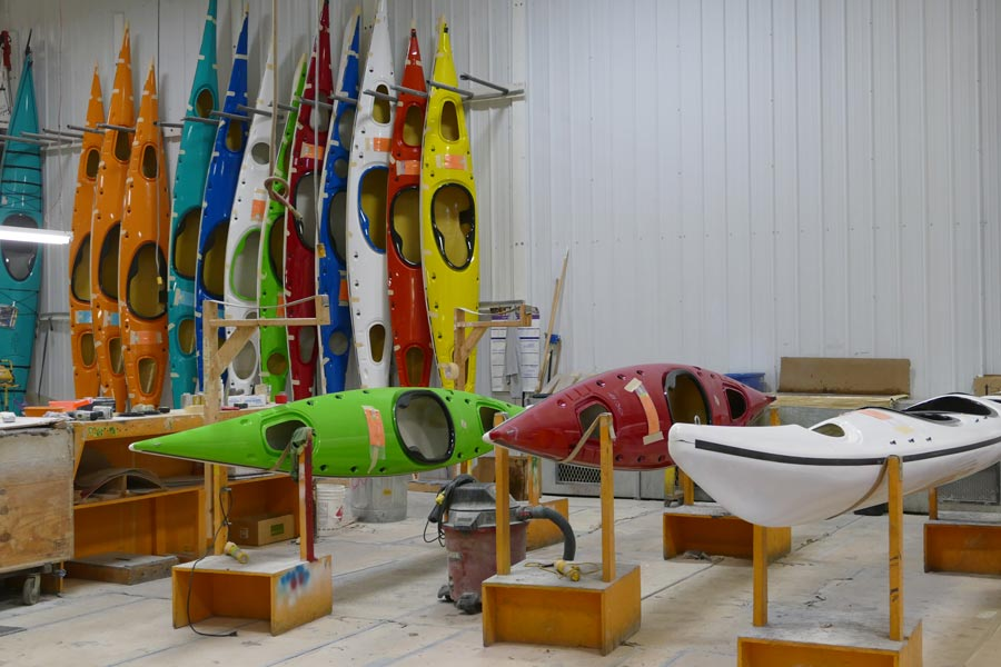 Current Design kayaks getting the last touches before completion.