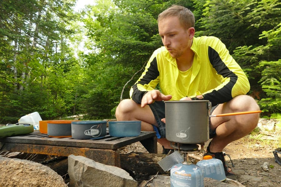 Preparing our meals on our GSI gear.