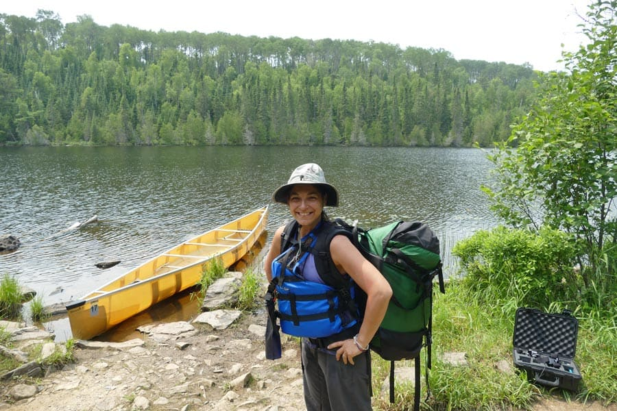 Kelly Portaging With Her Granite Gear Portage Pack.