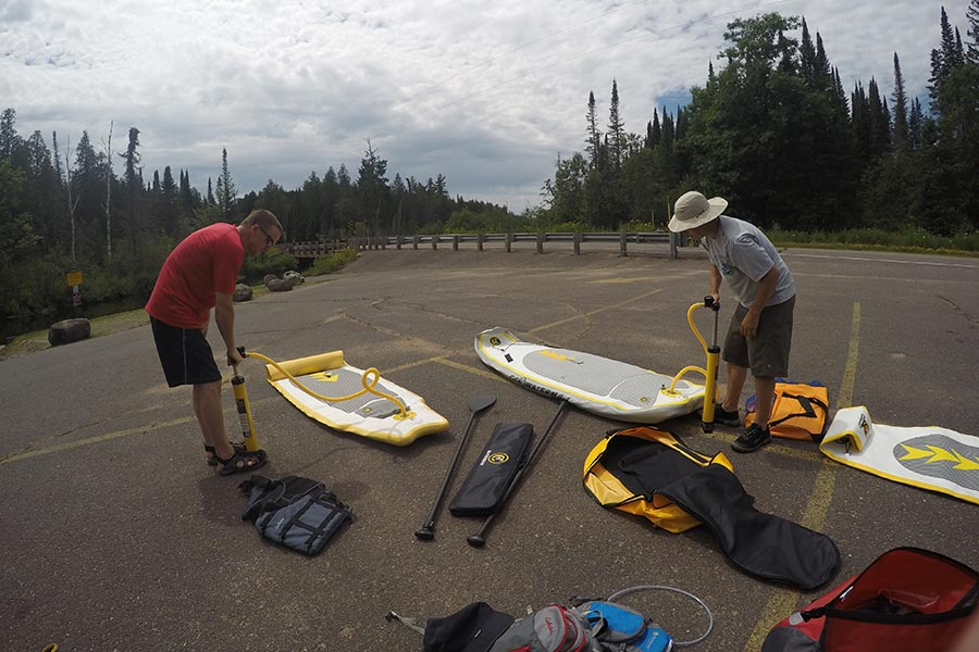Inflating our C4 Waterman iSUP boards