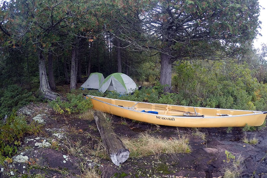 Tents and Canoe