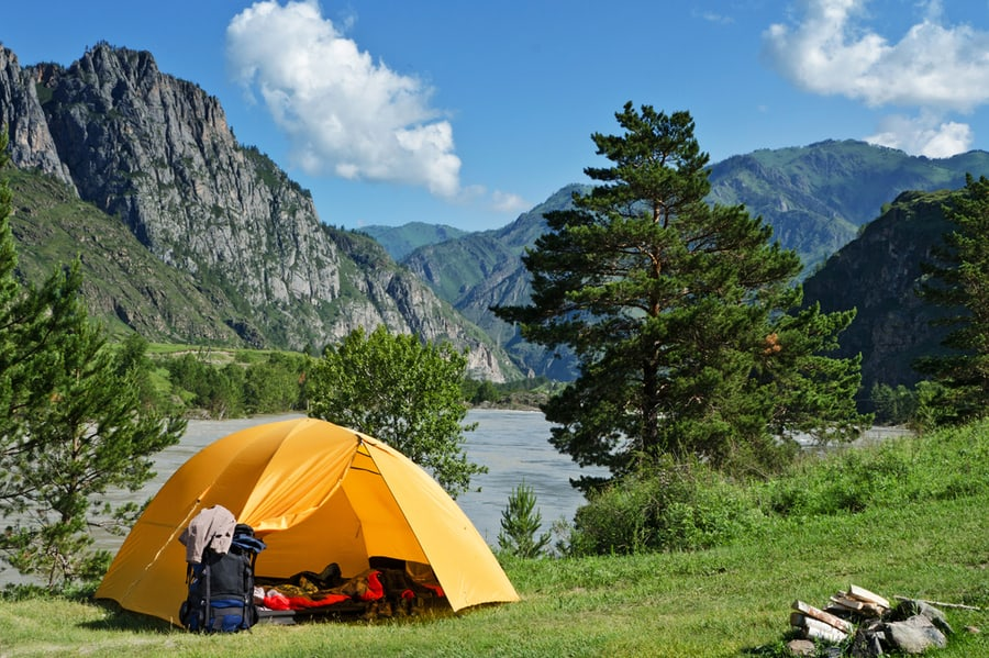 Camping Tent Near Mountain