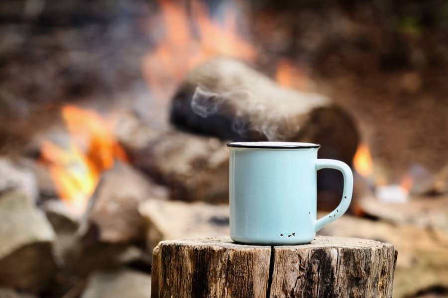 Camp Coffee Mug Near Campfire