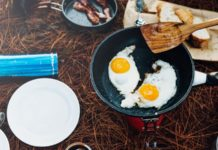 Camp Cooking Eggs in Frying Pan