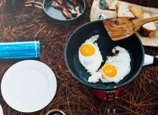 Camp Cooking Eggs in Frying Pan
