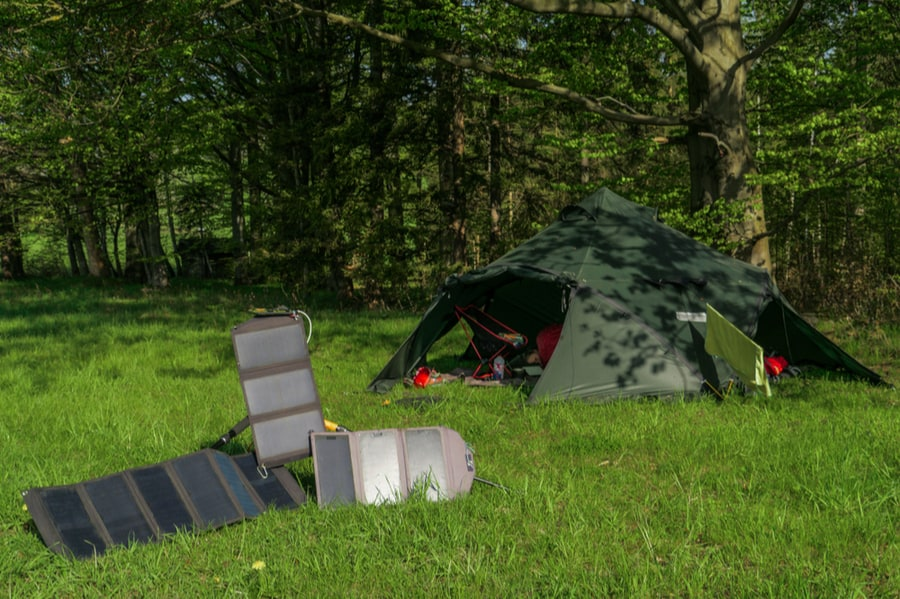 Camping Tent with Portable Solar Panels