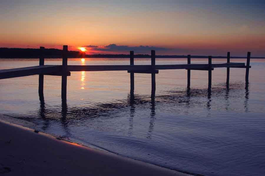 Castle Rock Lake pier at sunset