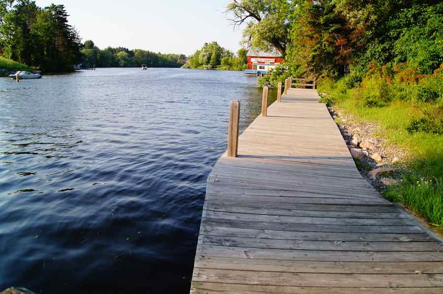 Dock next to Eagle River in Wisconsin