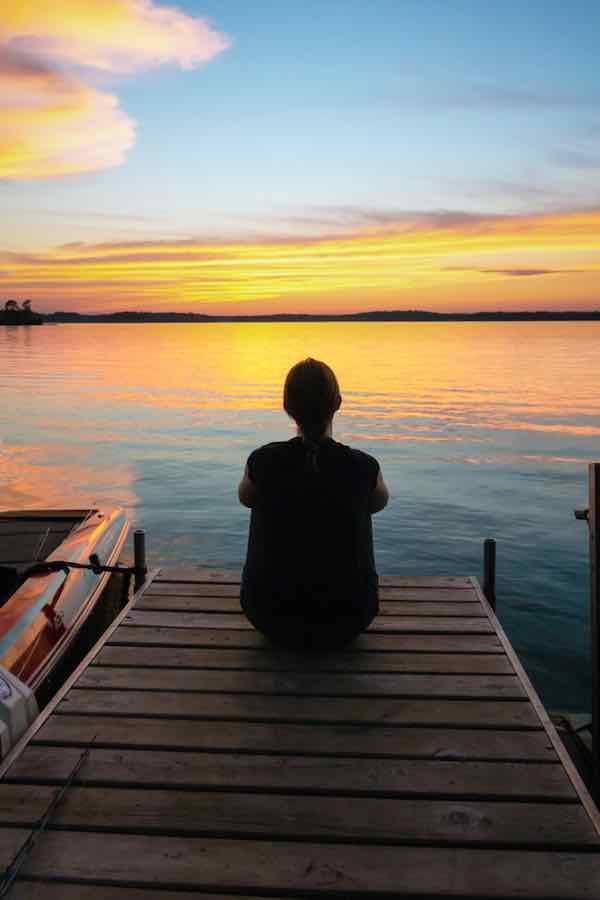 Sitting on a Dock in Hayward WI