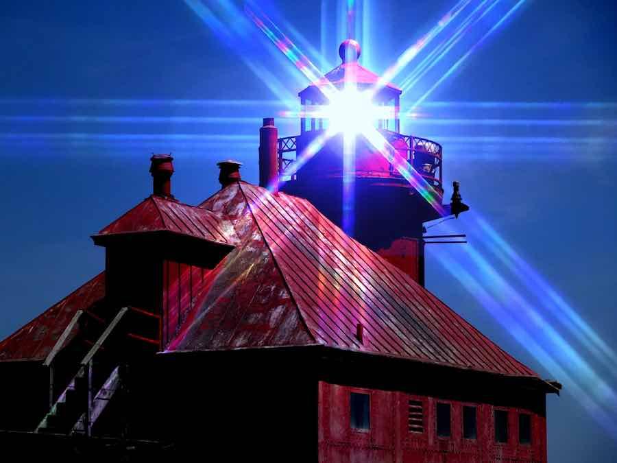 Red Lighthouse in Door County Wisconsin