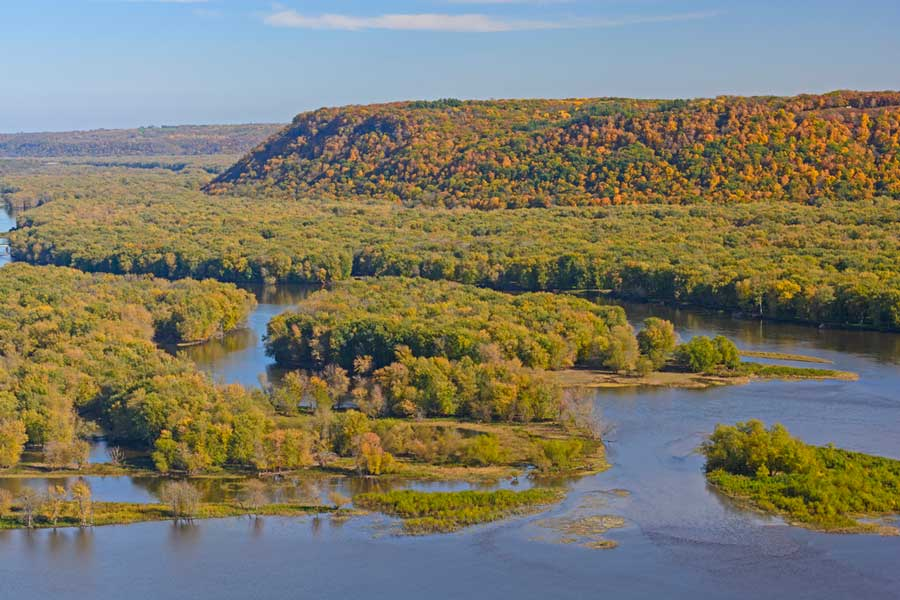 Colorful Bluffs above the confluence of the Wisconsin and Mississippi Rivers in Fall