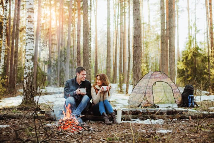 winter camping campfire