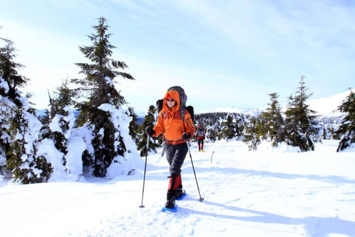 snowshoeing in the winter