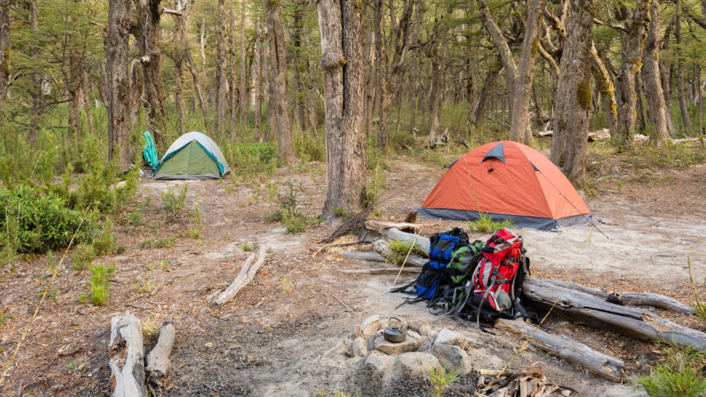 Two camping tents with backpacking backpacks at campsite.