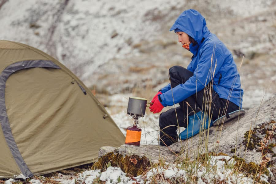 Using a Backpacking Stove While Winter Camping