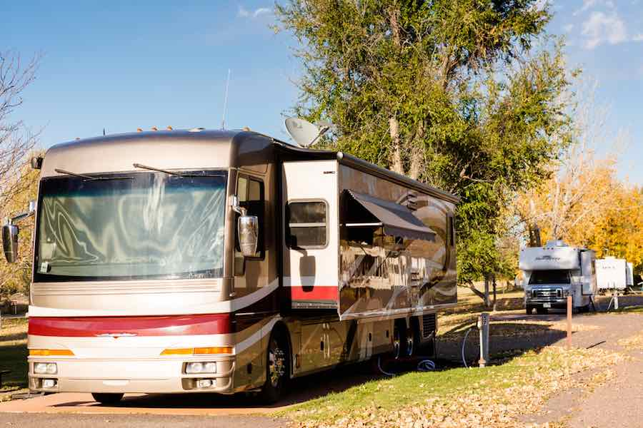 Class A Motorhome Rental filling up with water