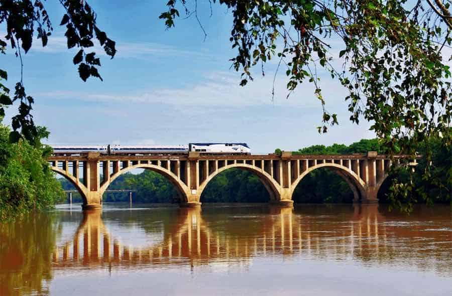 Train over the Rappahannock River near Fredericksburg