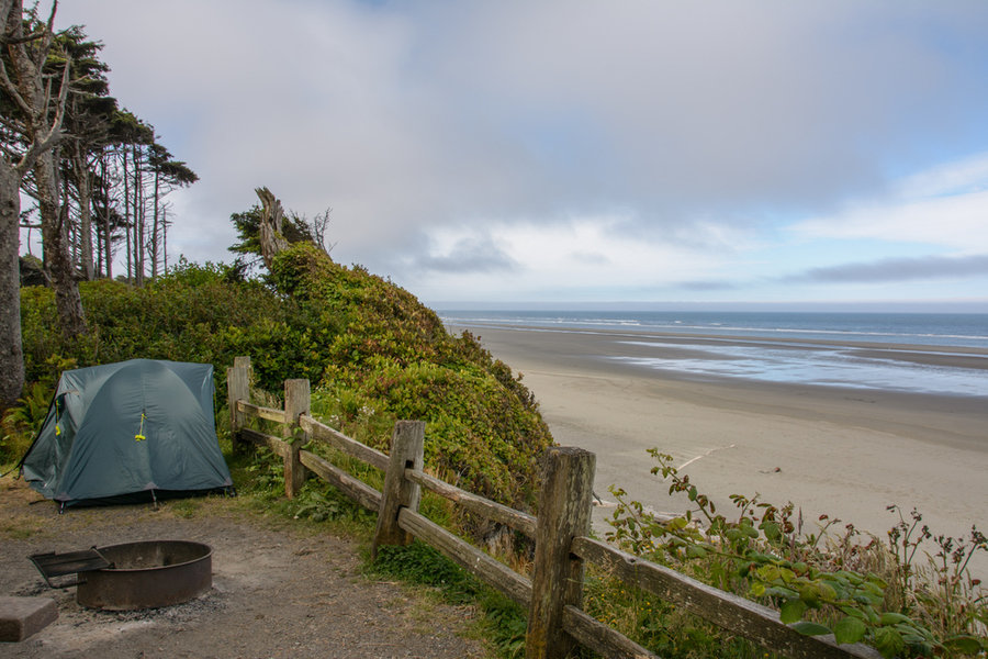 Tent Perched on Bluff Above Pacific Ocean at Kalaloch Campground