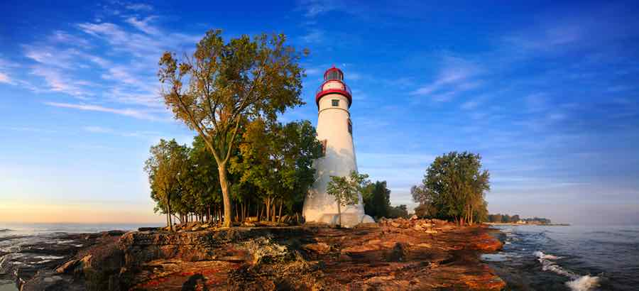 The Marblehead Lighthouse In Early Morning Light On Lake Erie