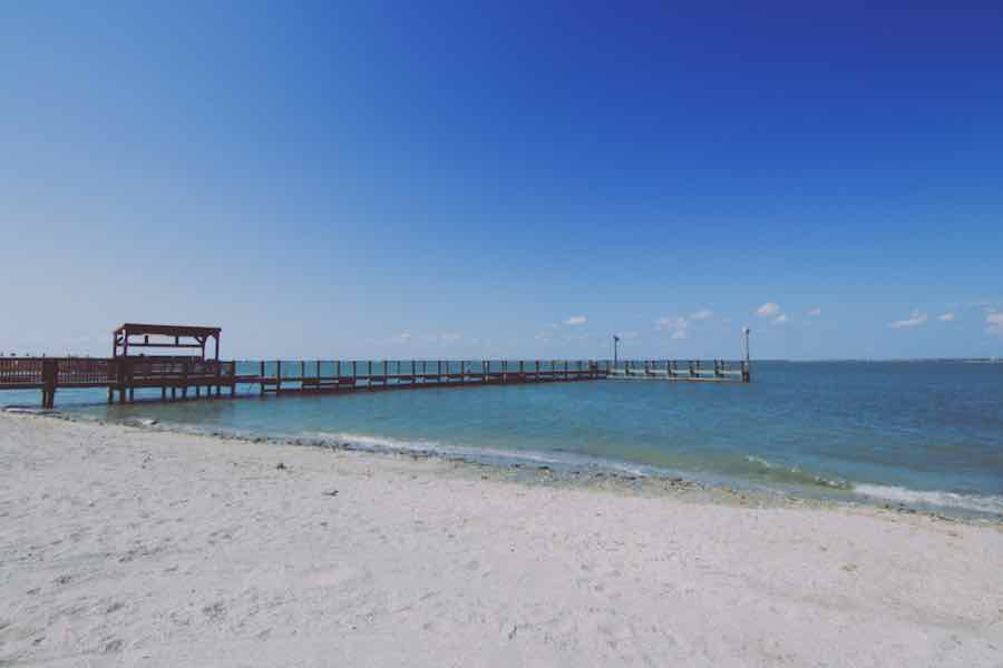 Pier on Mustang Island State Park in Texas