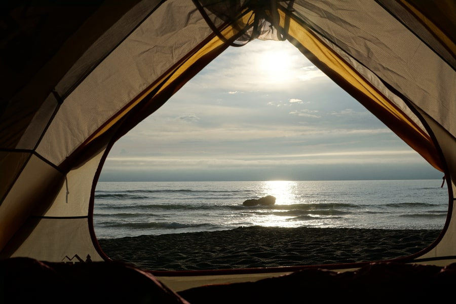 Looking Out to Pacific Ocean from Inside a Tent