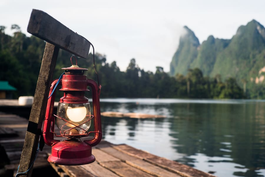 Lantern Hanging Near Lake