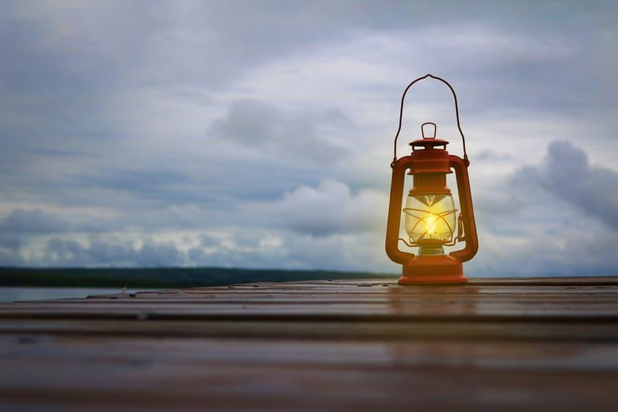 Camping Lantern on Table