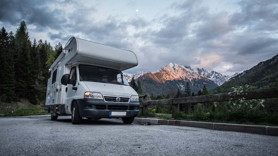 Class B Motorhome in front of Mountains