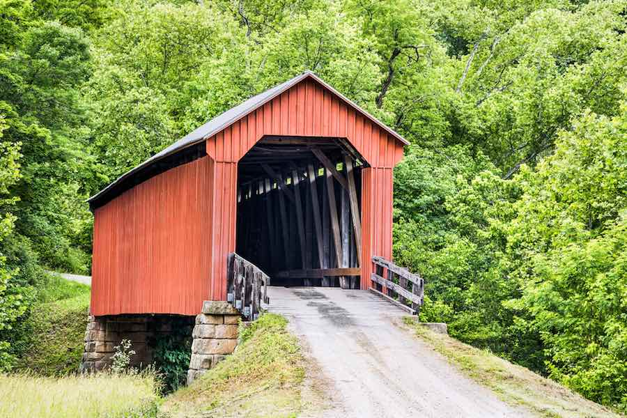 The historic red Hune Covered Bridge, built in 1879.