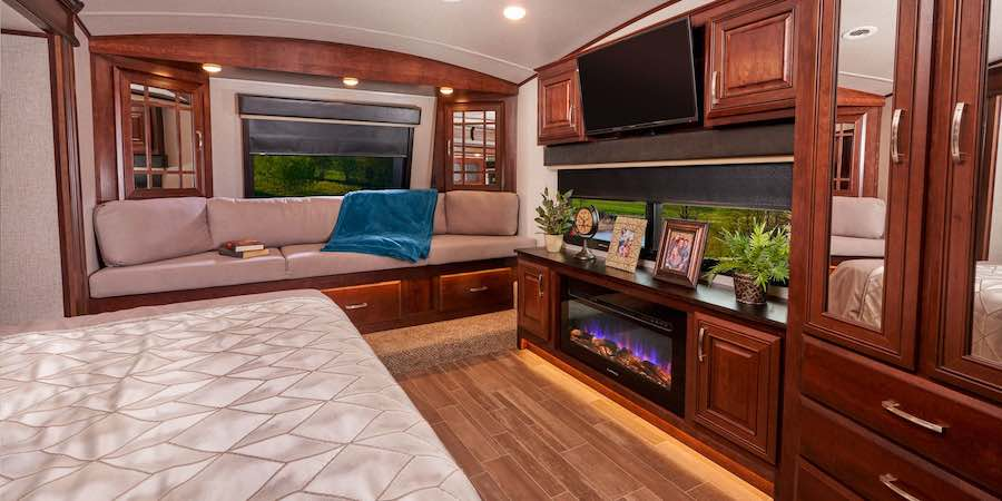 RV Flat Screen TV and Fireplace