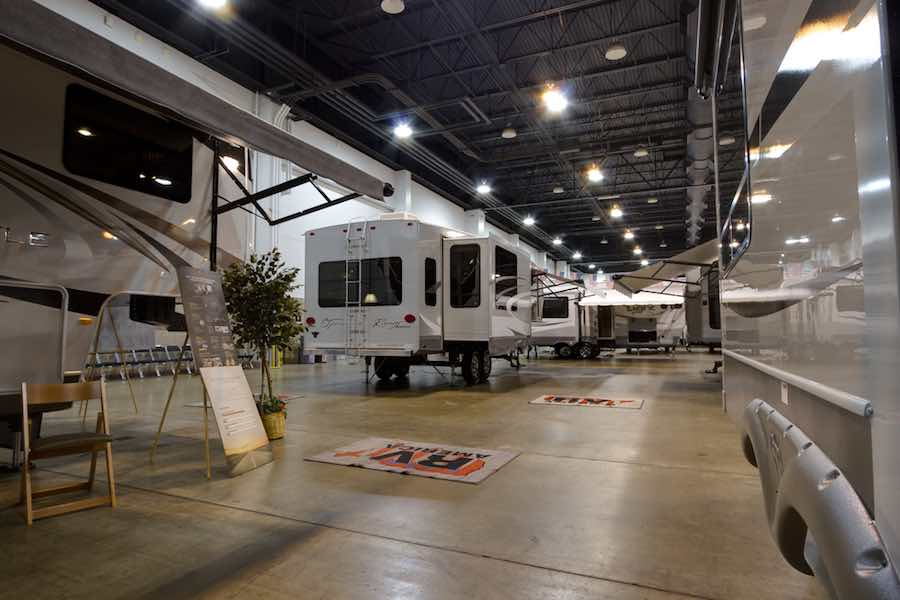 Travel Trailers at an RV Show