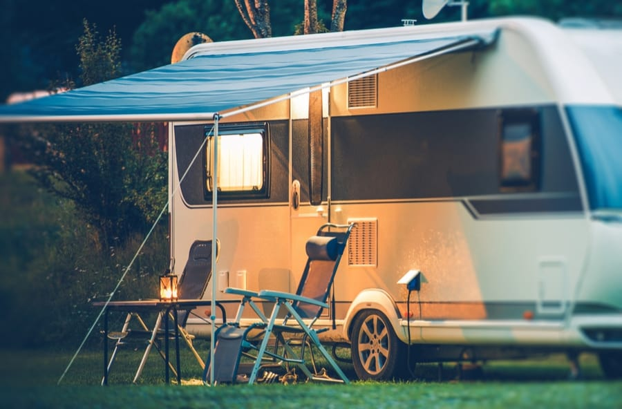 RV with Awning Out