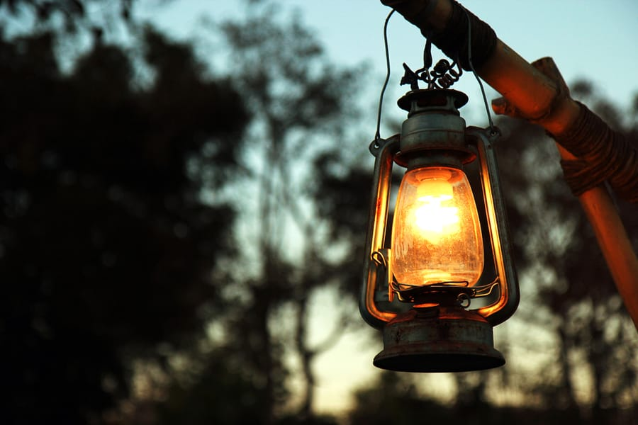 Lantern Hanging from Pole