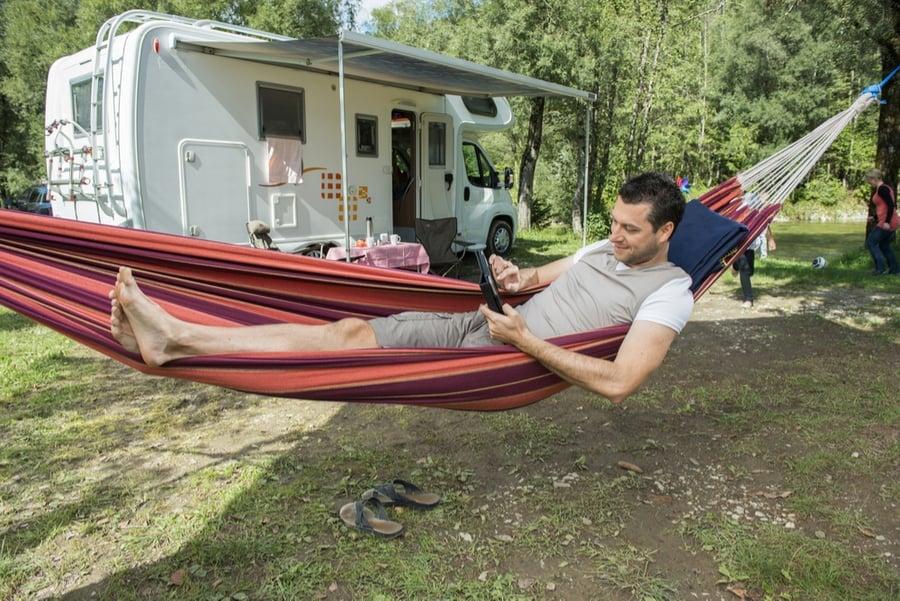 Hammock Camping Near RV
