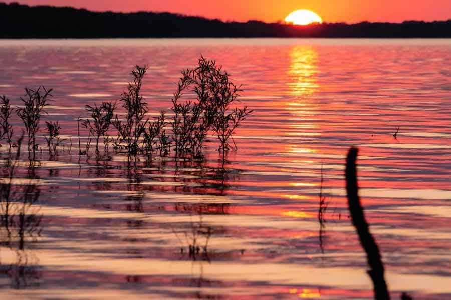 Sunset over Saylorville Lake in Iowa