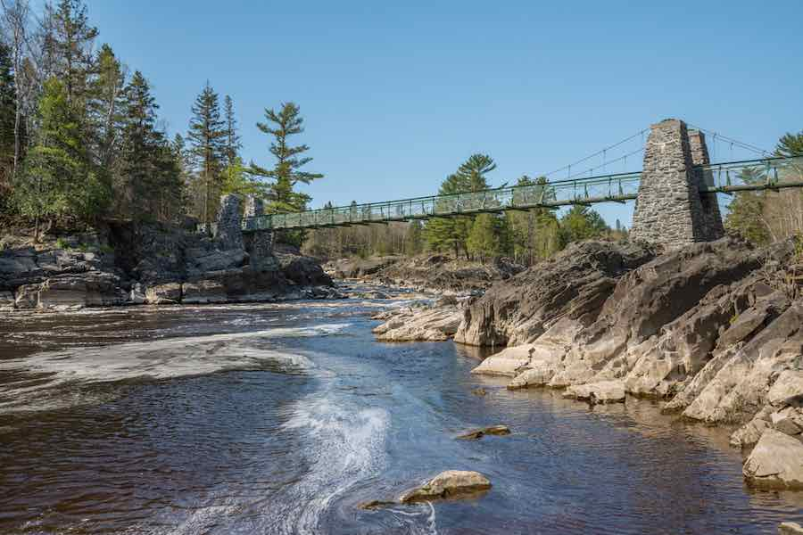 200 Foot Suspension Bridge over St. Louis River in Jay Cooke State Park.