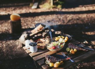 Food cooked on a camping stove