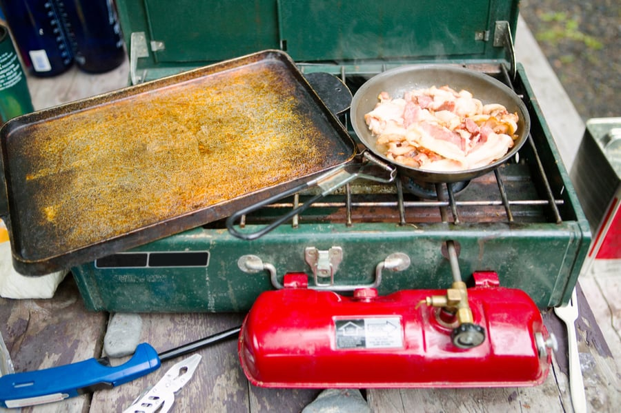 Food prepared on camping stove
