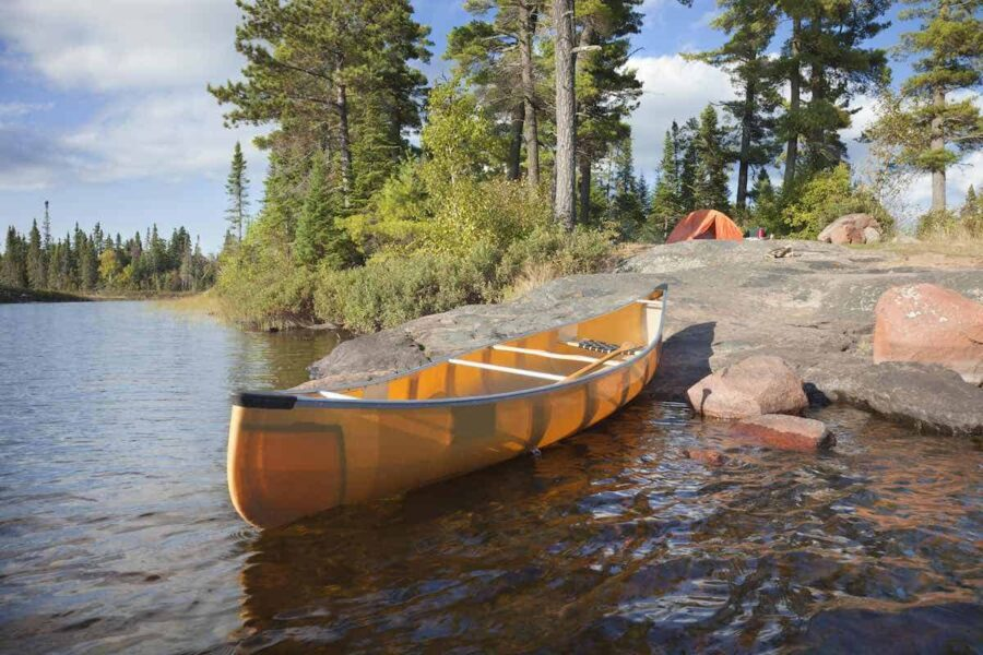 Canoe on lake in Minnesota
