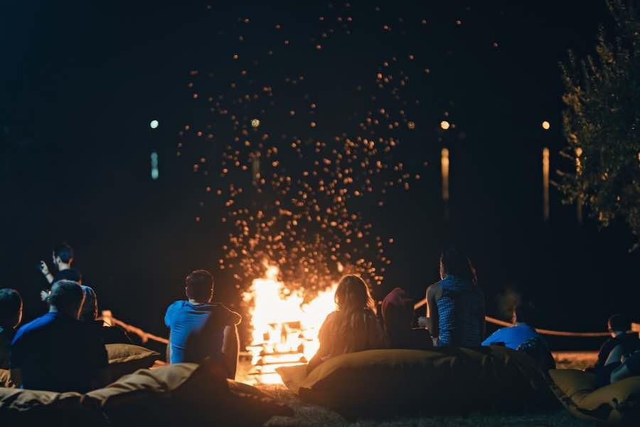Camping in Georgia - Enjoying A Campfire