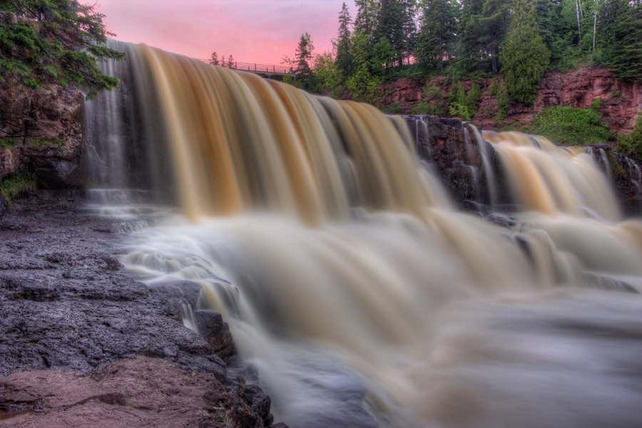 Gooseberry Falls State Park on Minnesota's North Shore of Lake Superior during sunset