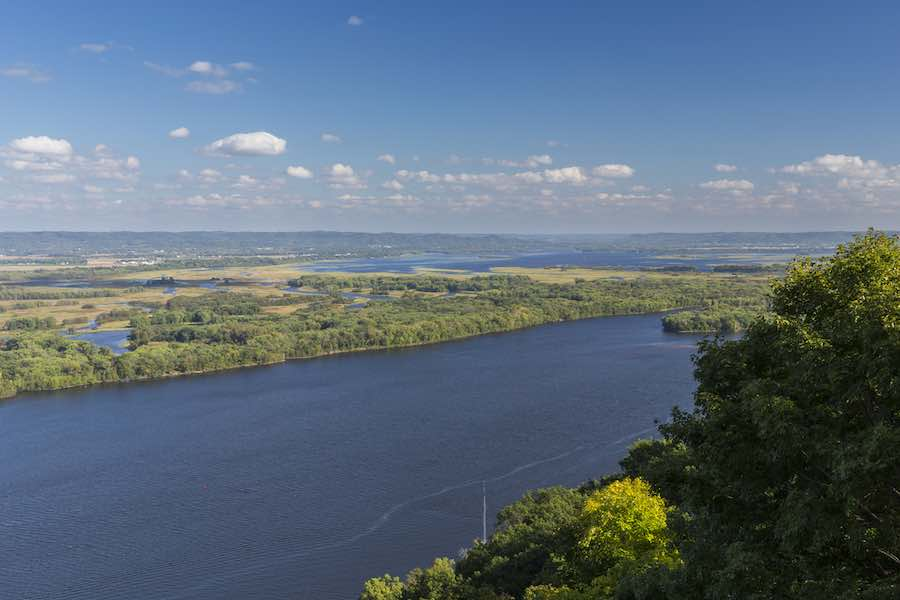 Scenic View of the Mississippi River near Great River Bluffs State Park