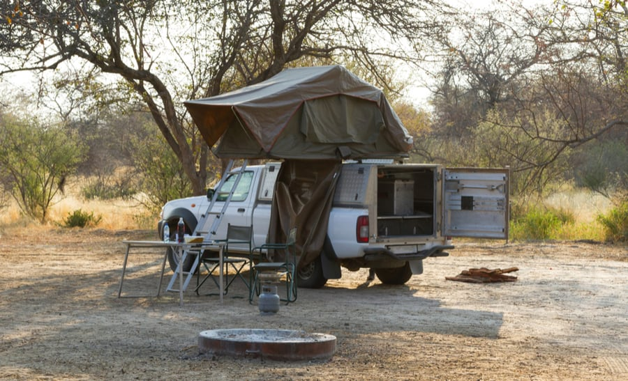 Rooftop Tent on Truck at Campground