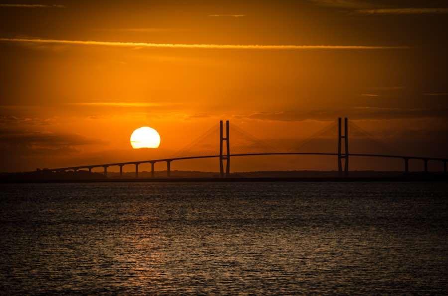 Sidney Lanier Suspension Bridge at Sunset