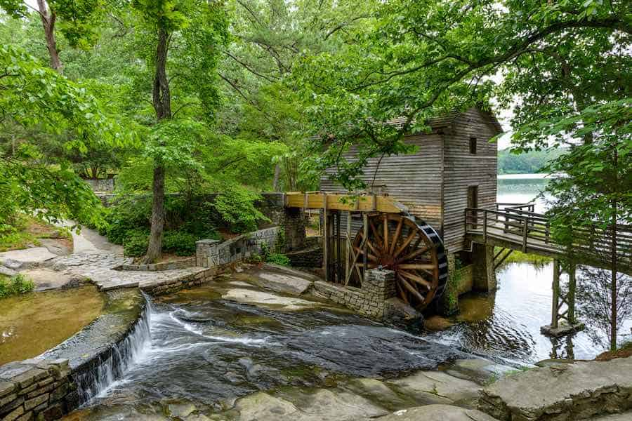 Camping in Georgia State Parks:  Grist Mill in Stone Mountain State Park, Atlanta, Georgia