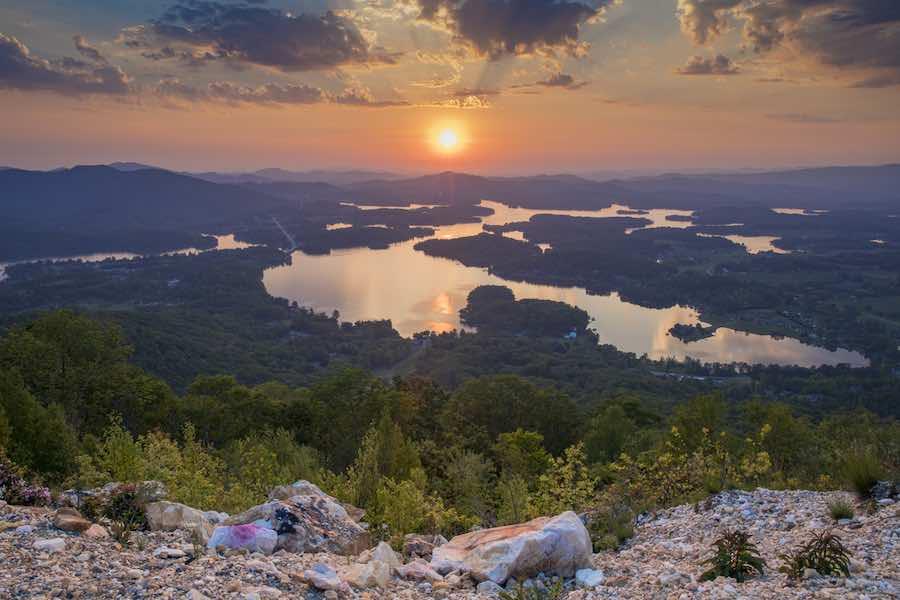 Sunset over lake in Blue Ridge Mountains